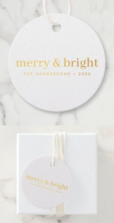 """Simple, stylish, minimalist christmas gift tags with a modern minimalist typographic quote """"merry & bright"""" in gold foil on a clean minimal white background. The name, year and greeting can be easily customized for a personal touch, perfect for the festive season! #christmas #merryandbright #minimal Christmas Gift Tags, Holiday Cards, Christmas Gifts, Minimal Christmas, Thing 1, Favor Bags, Merry And Bright, Box Design, Accent Colors"""