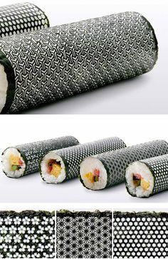 laser cut nori seaweed sheets for sushi rolls. (not sure if I should file this under graphic design or food)?? either way, looks good.