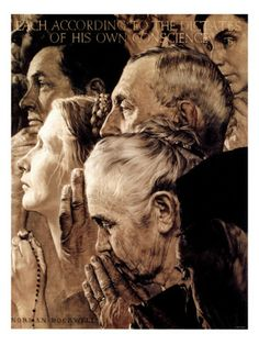 """""""Freedom of Worship"""", February 27,1943 Giclee Print by Norman Rockwell"""