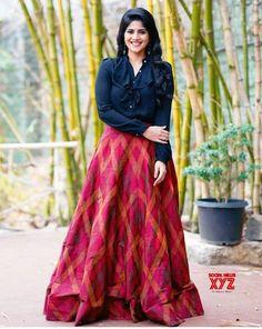 Actress Megha Akash Latest Glam Stills - Social News XYZ Actress Latest Glam Stills Long Skirt With Shirt, Long Skirt And Top, Long Skirt Top Designs, Frock Fashion, Skirt Fashion, Fashion Dresses, Women's Fashion, Fashion Trends, Indian Designer Outfits
