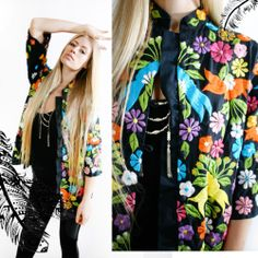 Vintage 80s ETHNIC Eastern Colorful HIPPIE Floral Embroidery KIMONO Jacket Top