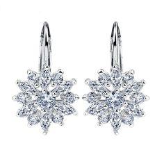 Brilliant Austrian Crystal Flower Earrings