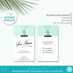 Editable Floral Minimal Business Card Template 2 Sizes | Etsy Minimal Business Card, Elegant Business Cards, Business Card Design, Beauty Shop, Diy Beauty, Printable Business Cards, Custom Fonts, Tag Design, Personal Branding