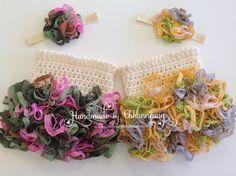 Baby Crochet Ruffle Skirt and Headband Set by handmadebychhunneang, $40.95