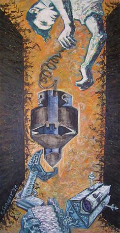 Title: I give my Cyborg devices tripling of good ideas Date: 1993 Technique: Acrylic on canvas Size of work: 270 x 150 cm  Price: 7.700 USD