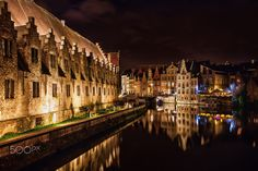 Canal in Ghent at night (Belgium) by Christian Müller on 500px