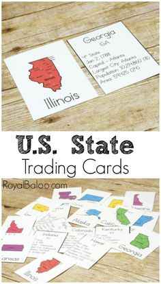 State Trading Cards to Bring Geography to Life Learning USA Geography? These State Trading Cards will make it fun and exciting! Facts on the states and more! Geography Activities, Geography For Kids, Geography Lessons, World Geography, Teaching Geography Elementary, 5th Grade Geography, Dinosaur Activities, Montessori Elementary, History Activities