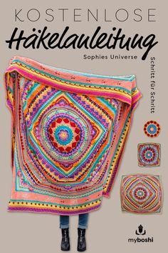 Crochet along Mandala Decke häkeln (gratis Häkelanleitung) With the free crochet pattern for the mandala blanket Sophies Universe, you crochet yourself a beautiful, summer … Mandala Au Crochet, Crochet Motifs, Mandala Motif, Mandala Pattern, Crochet Afghans, Beginner Crochet Projects, Crochet For Beginners, Crochet Along 2017, Manta Mandala
