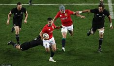 Conor Murray manages to get beyond the diving challenge of Aaron Smith to set the Lions on. Aaron Smith, British And Irish Lions, New Zealand, Diving, Challenges, Scuba Diving