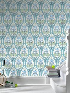 This bright & quirky wallpaper by Amy Butler is the perfect way to cover your walls in style. See the book at AmericanBlinds.com