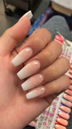French Fade With Naked And White Ombre acrylic nails coffin nails # Ac . French Fade With Naked And White Ombre acrylic nails coffin nails # coffin # # French nails - Coffin Nails Ombre, White Coffin Nails, White Nails, Gel Nails, Coffin Nails Short, Glitter Ombre Nails, Sparkle Acrylic Nails, Peach Nails, Dark Nails