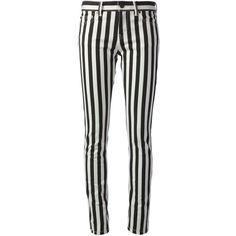 SAINT LAURENT striped trousers ($255) ❤ liked on Polyvore featuring pants, bottoms, jeans, trousers, pantalones, skinny fit pants, super skinny pants, striped skinny pants, skinny leg pants and stripe pants