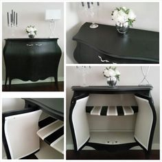 Fusion mineral paint chest. Black coal, cathedral taupe, champlain