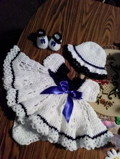 Sapphire and white crochet baby dress set.
