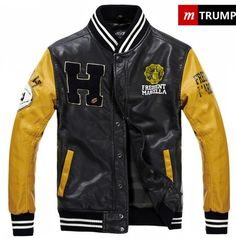 Mens M-Trump Varsity Jackets Letter W Yellow sleeves Cheap