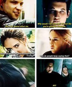 ~Divergent~ ~Insurgent~ ~Allegiant~ I loved this part. Divergent Memes, Divergent Hunger Games, Divergent Fandom, Divergent Trilogy, Divergent Insurgent Allegiant, Tfios, Insurgent Quotes, Divergent Fanfiction, Book Tv
