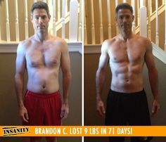 "Brandon C. lost 9 lbs and got shredded in 71 days with Insanity!    ""I loved the variety within the Insanity workout DVDs, it always made it more interesting and prevented it from getting mundane."""