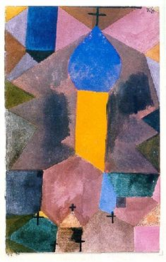 1917 Dorfkirche (Blauer Zwiebelturm) by Paul Klee