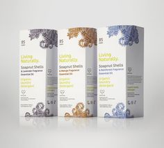 """SabotagePKG have designed the brand identity & packaging for Living Naturally.  The brief was to create a versatile, ecologically premium brand that would compete within the FMCG sector.  The brand was applied graphically & structurally, incorporating a henna inspired illustration for their lead organic laundry detergent product line.  The range comes in Lavender, Rainforest & Mango fragrances."""
