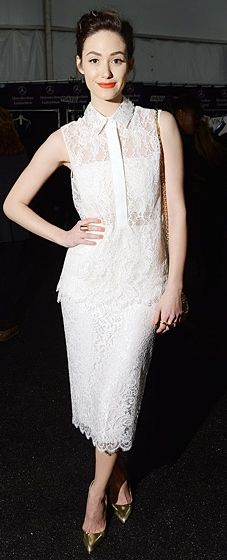 Emmy Rossum wearing Monique Lhuillier at the designer's Fall 2014 New York Fashion Week Show