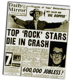 Buddy Holly, Big Bopper, & others killed in plane crash. 1959