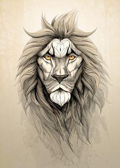 """The Lion"" metal poster by Rafapasta CG #animal"