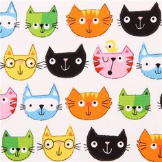 funny cat heads animal fabric multi by Timeless Treasures 1