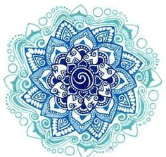 Lotus design. I pinned a similar design on a girls shoulder that was black and white, and very 3D, I wonder if some of these blues would add or take away...beautiful though.-BirdY