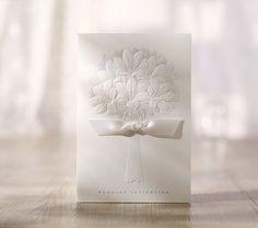 25 x White Lily Bouquet Wedding Invitation. Embossed Invite. Vintage Glam Wedding.