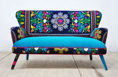 Handmade large two seater sofa upholstered with vintage Suzani and turquoise color velvet fabric