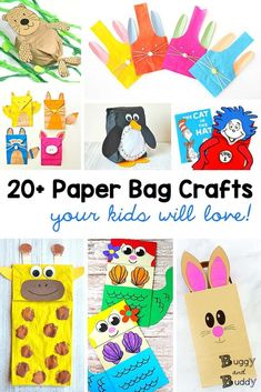 Paper Bag Crafts for Kids: Use brown paper lunch bags to create all kinds of cute projects with children- including a paper bag penguin, giraffe, sea otter, mermaid and more! Fun boredom busters and great on a rainy day when you're stuck inside. Crafts For Kids To Make, Crafts For Girls, Projects For Kids, Craft Projects, Art Journal Pages, Food Truck, Paper Bag Crafts, Paper Bags, Art Nouveau