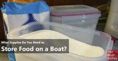 Eight things -- basic supplies -- you need for effective food storage on a boat. Do it right the first time and don't waste food! Sailboat Living, Living On A Boat, Boat Organization, Boat Supplies, Sailboat Interior, Yacht Interior, Boating Tips, Boat Storage, Storage Ideas