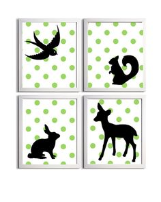 Nursery Kids Wall Art Boy Forest Animals Polka Dot Green Black White set of 4