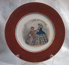 Vintage 1940s Century by Salem China Company 23 Kt Maroon Godey Print Service Plate by AnchorLineVintage on Etsy