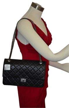 5ba857e0bf Chanel 2.55 Reissue Bnib Jumbo Double Flap 226 Calfskin Sn  19833204 Black  Leather Shoulder Bag 16% off retail