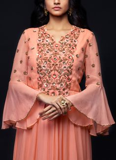 Indian Fashion Designers - SHIVAZZ by Angad Siddhu - Contemporary Indian Designer - Peach Georgette Embroidered Gown