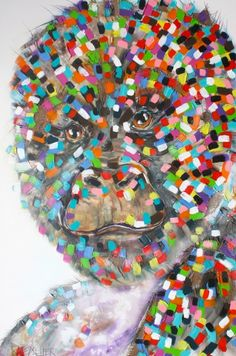 """This is a biggie - 1.8m tall x 1.2m wide    TRACEY KELLER 2013  """"Cordelia's Ape""""  Acrylic/Hessian on Canvas"""