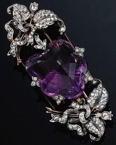 Luxury Amethyst and Diamond Brooch Pendant -set with rose-cut diamonds, collapsible pendant fitting, detachable brooch fitting.
