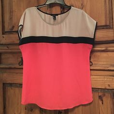 Coral, Black and Tan Color blocked top Great condition, lightweight fabric.  Only worn a few times, like new! Forever 21 Tops Blouses