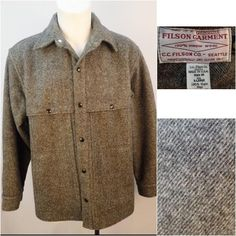 Filson Gray 100% Virgin Wool Mackinaw Men's Outdoor Cape Jacket Size XL 21 OZ #Filson #BasicCoat