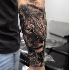 Forearm Sleeve Male Lion Tattoos