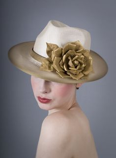 Gold edge rose trilby   William Chambers Millinery   Spring/Summer 2014