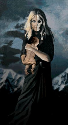 Hel -Norse goddess of death. Notice the baby to symbolize the intimate connection of life and death, two sides of the same coin in the Saturn Death Cult where death is elevated and life is de-valued
