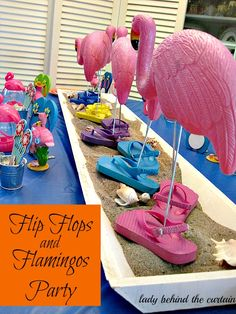 Lady Behind The Curtain - Flip Flops and Flamingos Party