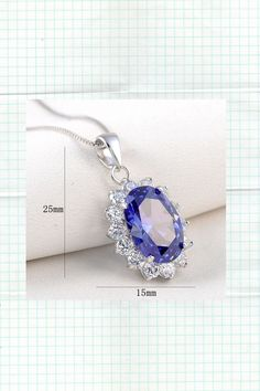 """6.4ct Oval Blue Tanzanite AAAA Cz 925 Sterling Silver Pendant 18"""" Chain Necklace"""