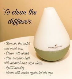 For your diffuser to last for a long time, careful and consistent cleaning is required. Note: Make sure to wash and clean your diffuser's inner area (where you fill with water), inner and outer cap before diffusing another type of essential oil. Stuffy Nose Essential Oils, Best Essential Oil Diffuser, Essential Oils For Face, Essential Oils Cleaning, Young Living Essential Oils, Roller Bottle Recipes, Young Living Oils, Starter Kit, Diaries