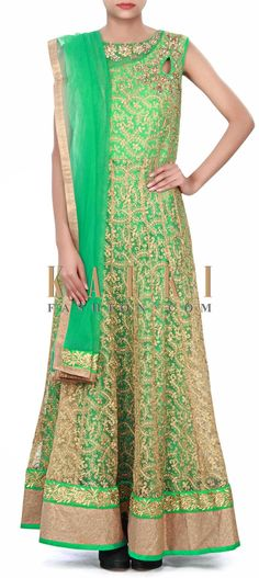 Buy Online from the link below. We ship worldwide (Free Shipping over US$100) Price-$199 Click Anywhere to Tag http://www.kalkifashion.com/green-and-gold-anarkali-suit-adorn-in-aari-and-mirror-work-only-on-kalki.html