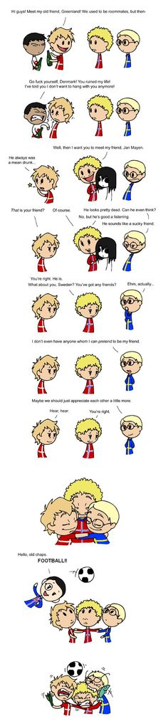 Webcomic: Sweden Denmark and Norway never hates each other more than when we play football. I wanted to include Greenland somehow, and the Cute Comics, Funny Comics, Funny Art, Funny Memes, Memes Humor, Hilarious, Satw Comic, Vs The World, Funny People