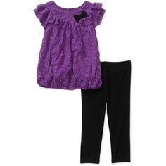 Healthtex Baby Toddler Girl Chiffon Tunic and Legging Set - Walmart.com