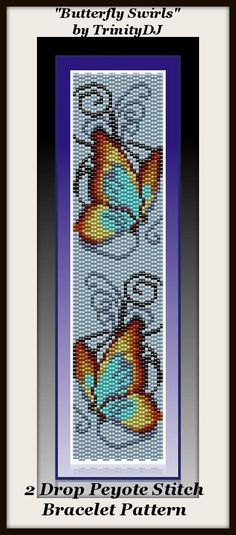 "New Pattern for next week: ""Butterfly Swirls"" - 2 drop Peyote Stitch Bracelet Pattern - if you need a design that will stitch up fast, this one is for you"
